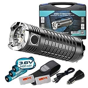 Olight SRMini SR Mini Intimidator II 3200 Lumens Rechargeable Flashlight Kit w/ 3x 3400mAh 18650 Batteries, Olight USB Charging Cable, Car Power Adapter, Holster and Two Lumentac Battery Organizer
