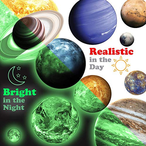 MAFOX 11 Glow in The Dark Planets, Bright Solar System Wall Stickers - Sun Earth Mars and so on, 11 Glowing Ceiling Decals for Bedroom Living Room, Shining Space Decoration for Kids for Girls -