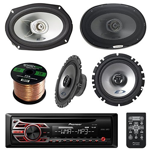 Alpine Stereo Speakers (Pioneer DEH150MP Single DIN Car Stereo Bundle - Alpine SXE1725S 6.5