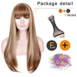 SiYi Long Light Brown Wig with Bangs Blonde Highlights Straight Synthetic Full Wig Heat Resistant Costume Wig for Women natural color party hairstyle
