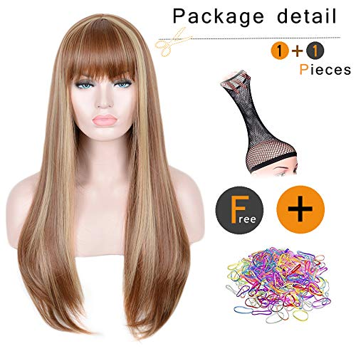 SiYi Long Light Brown Wig with Bangs Blonde Highlights Straight Synthetic Full Wig Heat Resistant Costume Wig for Women natural color party hairstyle]()
