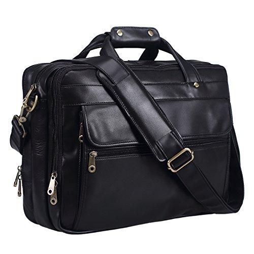 Polare Natural Napa Leather Men's 16'' Black Business Briefcase/Laptop (Napa Computer)