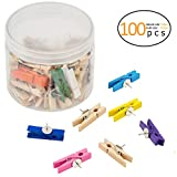 ANPHISN 100 Pieces Push Pins Clips- Small Paper Wooden Clips with Pins Tacks for Cork Board Wall Artwork Note and Photo