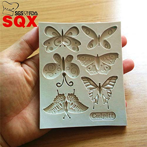 1 piece 6PCS butterfly cake tool fondant silicone mold cake decorating mold Turn sugar moulds texture butterflySQ16150