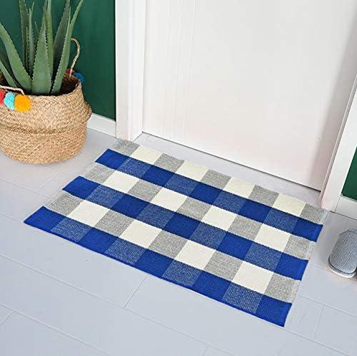 Wolala Home Blue White Buffalo Plaid Checkered Hand Woven Rug