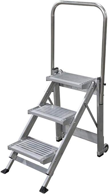 KTL Taburete-Escalera Industrial de Aluminio Plegable 3 peldaños con barandilla Serie k-Fold: Amazon.es: Hogar