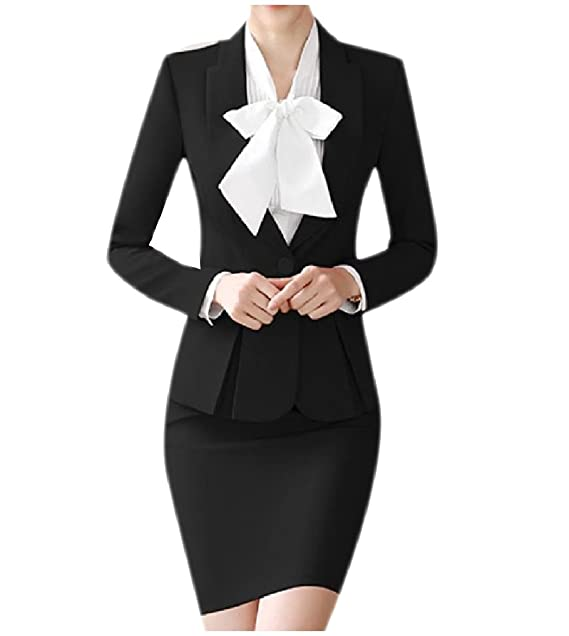 Winwinus Womens Wear to Work Solid Blazer and Bodycon Dress ...