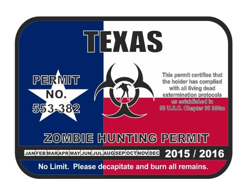 Zombie Hunting Permit License Sticker product image