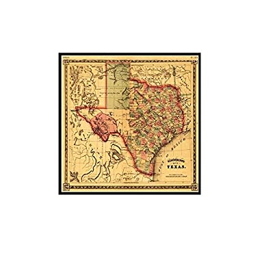 Texas - Panoramic Map (12x10 1/4 Framed Gallery Wrapped Stretched Canvas)