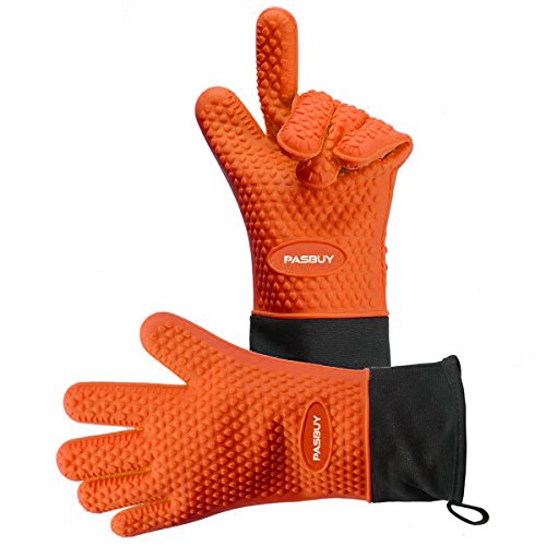 PASBUY P7097G Silicone Oven Mitts Extra-Long Quilted Cotton Lining, Heat Resistant Kitchen Potholder Gloves for Oven, Outdoor BBQ Grill, Fireplace Camping-A Pair (Orange) by PASBUY