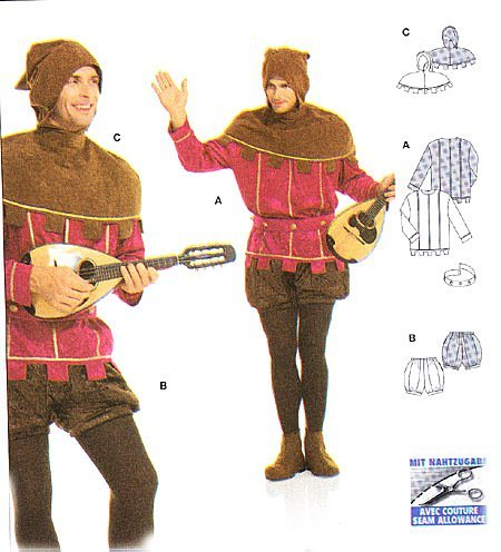 Euro Co Costumes (Burda 2498 Pattern Lord of the Castle, Troubadour Costume Size 36 - 48 (Euro 46 to 58))