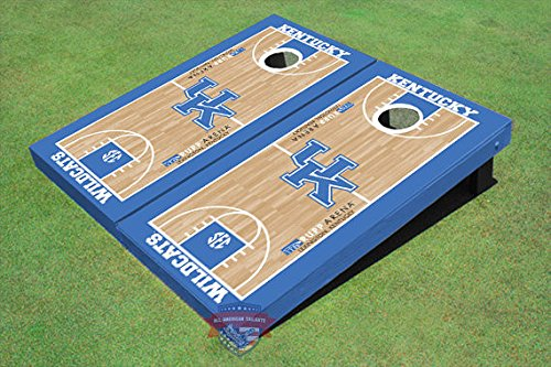 University of Kentucky UK Logo Matching Basketball Court Themed Cornhole Boards by All American Tailgate