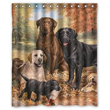 lovely Labrador Retriever Dog art,cute dogs Polyester Fabric Custom home decor Shower Curtain 60  x 72