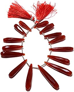 Red Onyx Huge Long Drops, Faceted Onyx Briolettes, Tear Drop Beads, 14 Pieces Approx, 6x23mm To 8x44mm