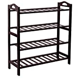 SONGMICS ULBS94Z 100% Bamboo 4-Tier Rack 30 Inch Wide Entryway Shoe Shelf Storage Organizer Holds up to 16 Pairs,Ideal for Hallway Bathroom Garden, 26.6
