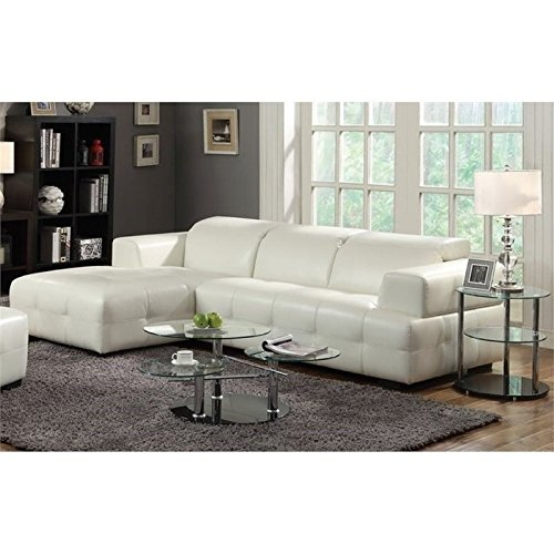 Bowery Hill Leather Left Facing Sectional with Adjustable Headrests