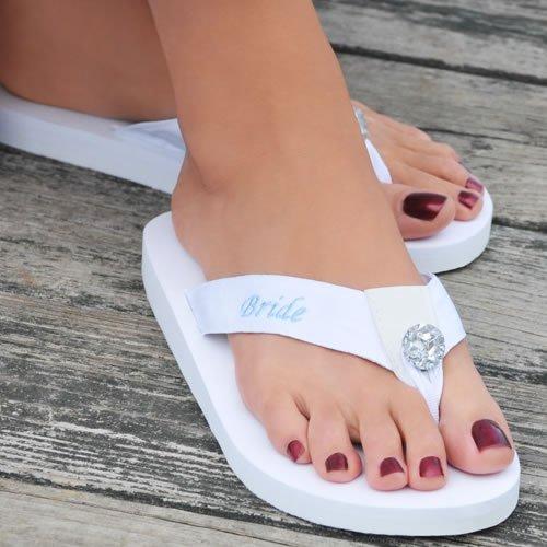 Embroidered White Bride Flip Flops