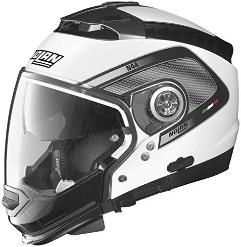 Nolan N-44 N-Com Tech Helmet, Distinct Name: Metallic White/Black, Gender: Mens/Unisex, Helmet Category: Street, Helmet Type: Modular Helmets, Primary Color: White, Size: 2XS N445277920219