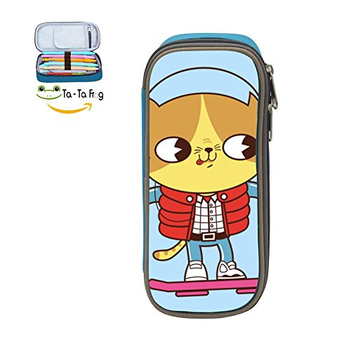 Meowrty Catfly Back Pencil Case Pen Bag Durable Students Cute Stationery Double Zipper Blue