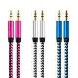 Aux Cable - CableLovers 3 Pack 5FT Nylon Braided Hi-Fi Sound Quality Audio Cable 3.5MM Male to Male Auxiliary Audio Cord for Car Stereos - iPhone - iPad - Beats Solo 2 3 Headphones - Samsung Galaxy