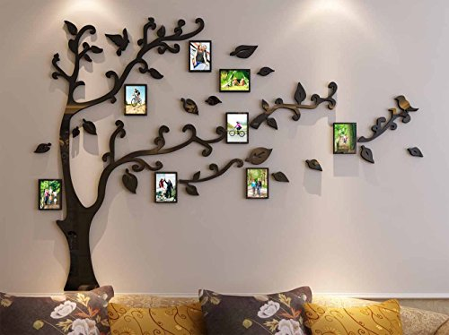 3d Picture Frames Tree Wall Murals for Living Room Bedroom Sofa Backdrop Tv Wall Background Originality Stickers Wall Decor Decal Sticker 50H x 70W inches