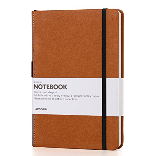 Thick Classic Notebook with Pen Loop - Lemome A5 Wide Ruled Hardcover Writing Notebook with Pocket + Page Dividers Gifts, Banded, Large, 180 Pages, 8.4 x 5.7 -