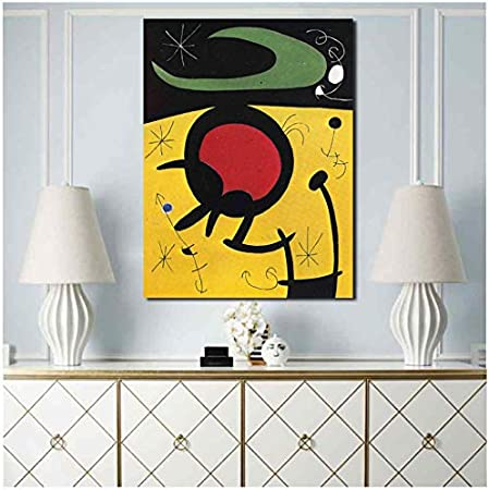 WSTDSM Joan Miroes Pájaro Vuelo Pared Arte Lienzo Póster Lienzo Pintura Cuadro Decorativo Sala De Estar Decoración del Hogar 24X32 En Sin Marco