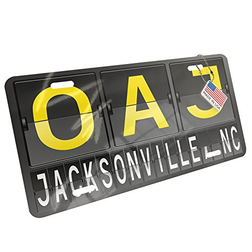 - NEONBLOND Metal License Plate OAJ Airport Code for Jacksonville, NC