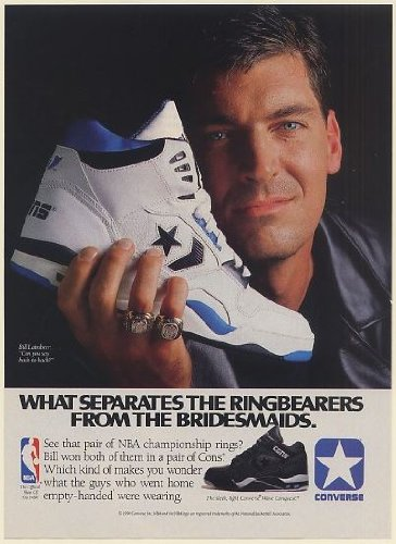ff5bdcee6a2b44 1990 Bill Laimbeer NBA Rings Converse Cons Wave Conquest Shoes Print Ad ( Memorabilia) (60153)  Amazon.co.uk  Kitchen   Home