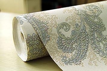Tapete PVC 3D Tapete Gold Pfauenfeder Tapete dreidimensionale Verdickte Tapete Tiefenprä gung PVC Tapete Stickerei Craft Home Hintergrund Wand Papier 10 * 0, 53 (M) a WSZYD