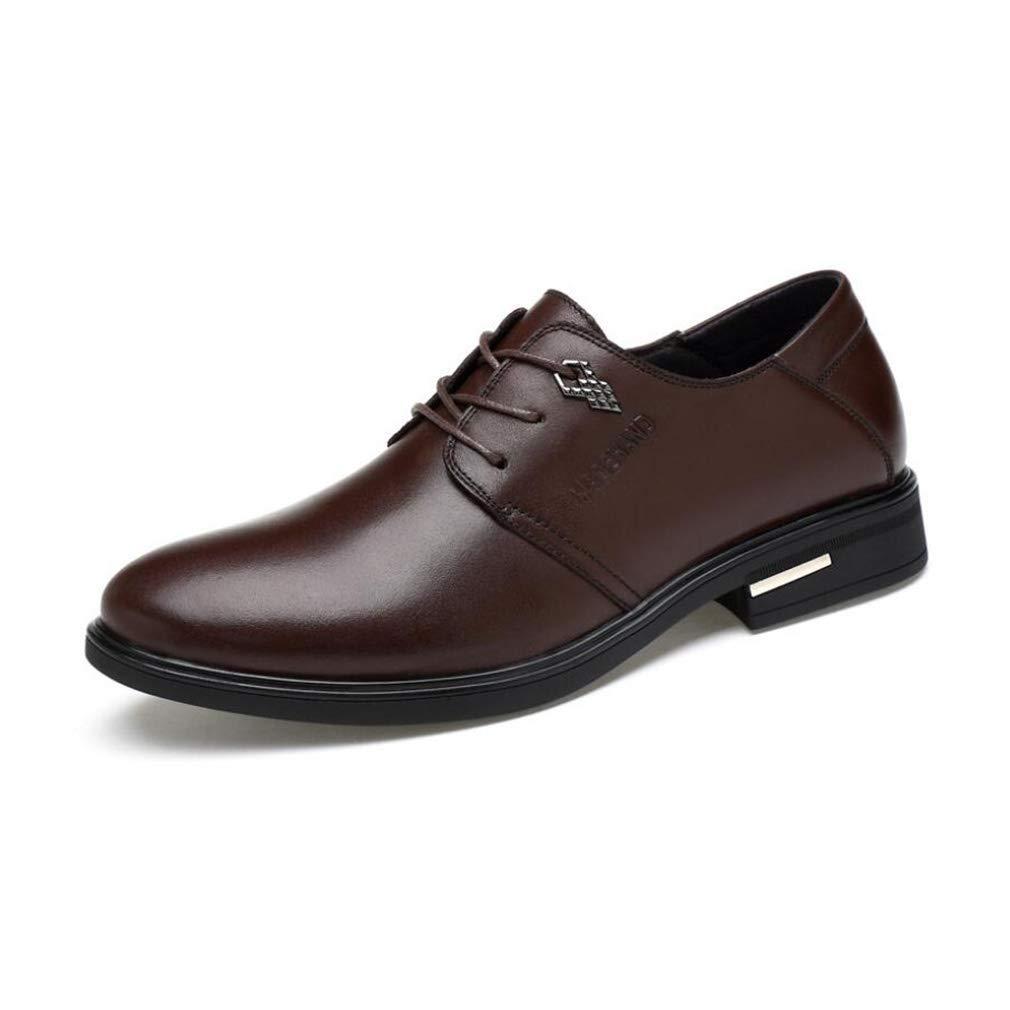 FuweiEncore Frühling Herbst Herrenschuhe, Spitz Casual Business Schuhe, Mode Kleid Schuhe, Lace up Formale Schuhe, Hochzeit Casual Party (Farbe   Schwarz, Größe   39) (Farbe   Braun, Größe   37)