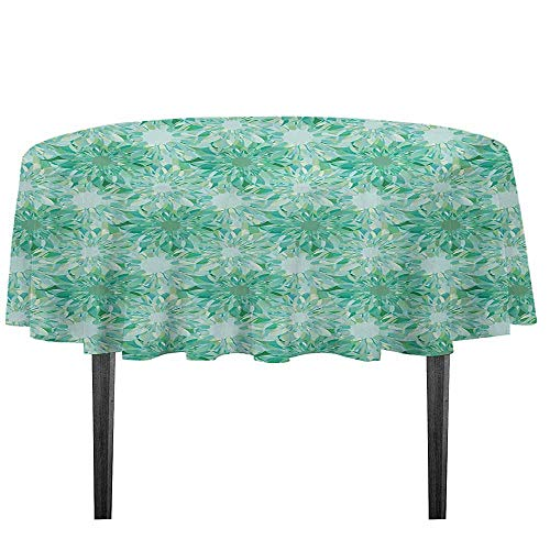 kangkaishi Turquoise Easy Care Leakproof and Durable Tablecloth Floral Pattern with Beryl Crystal Guilloche Flowers Carving Art Elements Image Print Outdoor Picnic D59.05 Inch Green