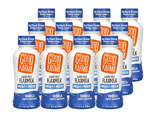 Good Karma Flaxmilk Vanilla 10 oz. Bottle (Shelf Stable 12 Pack) A Vanilla Flavored Creamy Dairy Free Milk Alternative with Plant-Based Protein; Vegan Non-GMO Nut Free and Soy Free and Gluten-Free ()