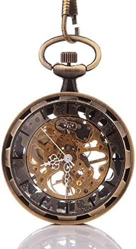 Carrie Hughes Bronze Steampunk Mechanical skeleton Hand Winding Pocket watch with chain Fob for Men Woman