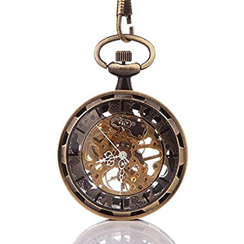 Carrie Hughes Vintage Steampunk Open face Pendant Skeleton Mechanical Pocket watch with Chain for Men Woman (Mechanical Pocket Watch Engraved)