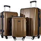 Merax Luggage 3 Piece Sets ABS+PC Expandable Luggage Set with TSA Lock (Coffee.Brown)