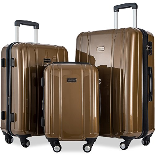 Merax Luggage 3 Piece Sets ABS+PC Expandable Luggage Set with TSA Lock (Coffee.Brown) by Merax