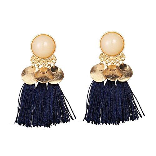 Clearance! Women's Tassel Fringe Hoop Earrings Long Drop Earrings Statement Jewelry with Crystal Button Stud, Bohemian 7 Colors (Blue)