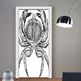 Gzhihine custom made 3d door stickers Crabs Decor Seafood Theme Design Vintage Engraved Illustration of an Edible Crab Print Black and White For Room Decor 30x79