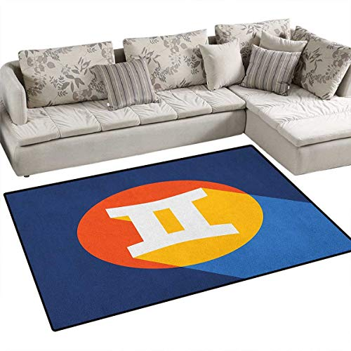 Graphic Equalizer Gemini - Zodiac Gemini,Carpet,Horoscope Sign with Colorful Graphic Design in a Circle on Blue Background,Print Area Rug,Multicolor Size:36