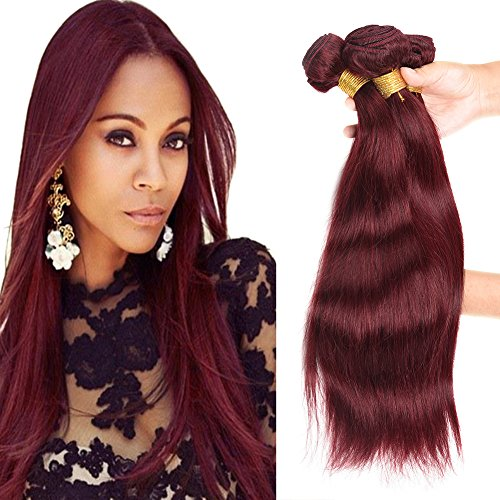 Wine Pure Silk (XCCOCO Hair 8A Peruvian Virgin Straight Hair Weave Bundles Deal 4pcs/set Remy Silk Straight Hair Extensions Wine Red Pure 99j# Color 100g/Bundle(10 10 12 12inch))