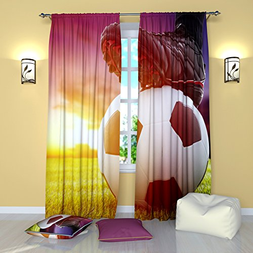 Soccer Curtains Football Sports Theme Window Curtain - Set of 2 Panels - W84 x L84 inches Drapes for Boys Men Teen Bedroom
