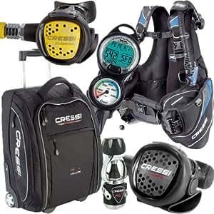 Cressi Travel Light Pack BCD Regulator Computer Travel Bag Bundle (X-Small)