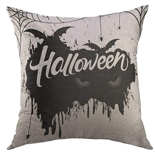 Mugod Decorative Throw Pillow Cover for Couch Sofa,October Scary Retro for Happy Halloween with Stylish Text of Bat Eyes Spiders Boo Home Decor Pillow Case 18x18 Inch]()