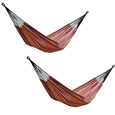 Vivere 2 Brazilian Style Striped Double Hammocks with Bags, Cotton | BRAZ206 - Constructed of tightly woven cotton for a comfortable feel Easy to get in and out of for added convenience A variety of uses: covered patio, under a deck, on your porch - patio-furniture, patio, hammocks - 516i7KGYbHL. SS400  -