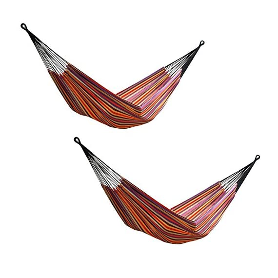 Vivere 2 Brazilian Style Striped Double Hammocks with Bags, Cotton | BRAZ206 - Constructed of tightly woven cotton for a comfortable feel Easy to get in and out of for added convenience A variety of uses: covered patio, under a deck, on your porch - patio-furniture, patio, hammocks - 516i7KGYbHL. SS570  -