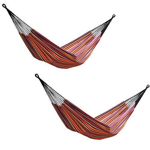 Vivere 2 Brazilian Style Striped Double Hammocks With Bags