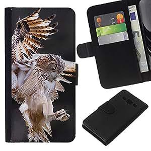 KingStore / Leather Etui en cuir / Samsung Galaxy A3 / Vol Predator nature animale