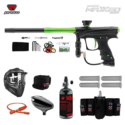 MAddog Proto Rize MaXXed Elite HPA Paintball Gun Package - Black/Lime