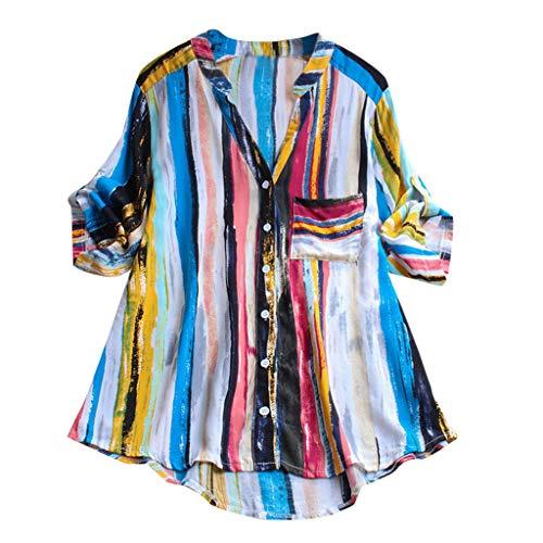 Toimothcn Women's Striped Printed Button T Shirts Short/Long Sleeve V Neck Tie Dye Tops Blouse(Blue,L)